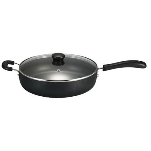 T-fal A91082 Specialty Nonstick Dishwasher Safe Oven Safe Jumbo Cooker Saute Pan with Glass Lid Cookware, 5-Quart, Black