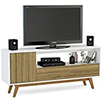 Boahaus Modern TV Stand up to 65, White Walnut, 1 Drawer, 1 open compartment