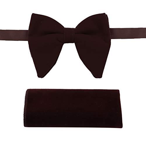 Brown Oversized Bow Ties Pocket Square For Men Velvet Soild Dark Brown Oversized Pretied Bow Ties Handkerchiefs For Pretty Dan Smith C.C.O.S.007 ()