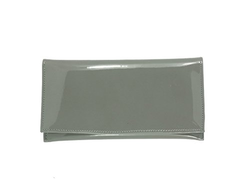 (LONI Womens Wallet Clutch Bag Matinee Purse Coin Pouch Patent Faux Leather in Grey)