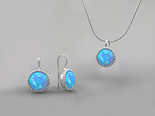 10mm Blue Fire Opal Stones Round Jewelry Set For Women Sterling Silver October Birthstone Jewelry Opal Necklace Pendant Earring Set Gift for Women Opal Jewelry Created Gemstone Custom Jewelry Handmade by Chen Fuchs Jewelry