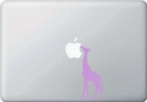 Giraffe Eating Apple - Macbook or Laptop Decal (2''w x 4.75''h) (Color Variations Available) (LAVENDER)