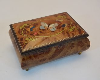 Made in Italy Sorrento Inlaid Nature Butterflies Inlay Music Box - Clair De Lune (Sankyo 18-notes) Sorrento Italian Inlay