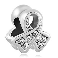 6326fb83c Image Unavailable. Image not available for. Colour: European Charm Bead  Ribbon Cancer Awarenesss Clear Pugster Fits Pandora ...