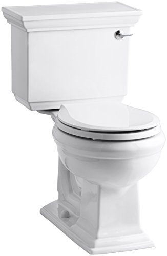 (Kohler K-3933-RA-0 Memoirs Comfort Height Two-Piece Round Front Toilet with Right-Hand Trip Lever and Stately Design, White)