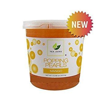 Mango Pearl - Tea Zone Popping Pearls, Popping Boba, Black Pearls Flavorful Beverage Sensation 7lbs Jar (Mango)