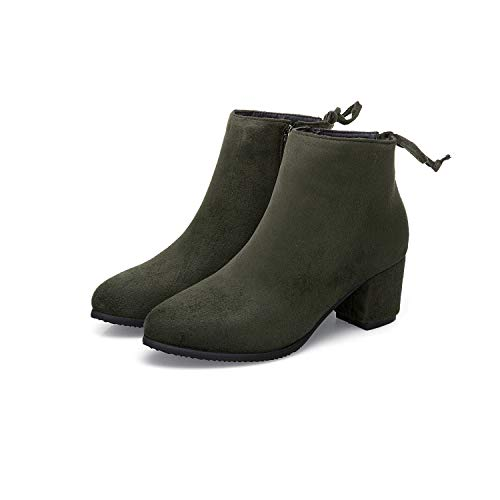 ea796ff6351 Army Ankle Pointed Boots High Green Women's Short Block Heels Toe ...