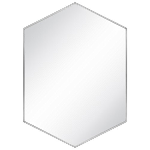 - Best Choice Products Modern Hexagon Decorative Mirror for Bedroom, Living Room, Bathroom Vanity Home Decor - Silver