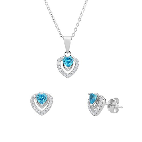 Sterling Silver Heart Halo Earrings and Pendant Set with Simulated Birthstone & CZ for Girls, 16'' (December) (16' Fashion Cubic Zirconia Necklace)