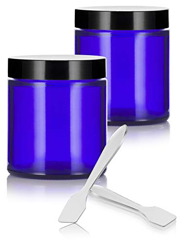 Cobalt Blue Glass Straight Sided Jars - 4 oz / 120 ml ( 2 pack) + Spatulas - Airtight, Smell Proof, BPA Free Lids