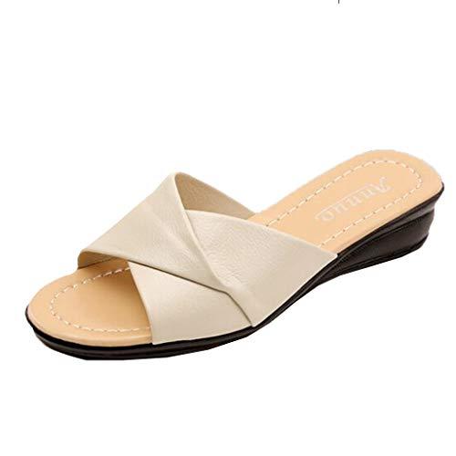 (HAPPYSTORE Women Sandals Summer Slippers Retro Flat Bottomed Wedges Non-Slip Open-Toe Shoes Beige)