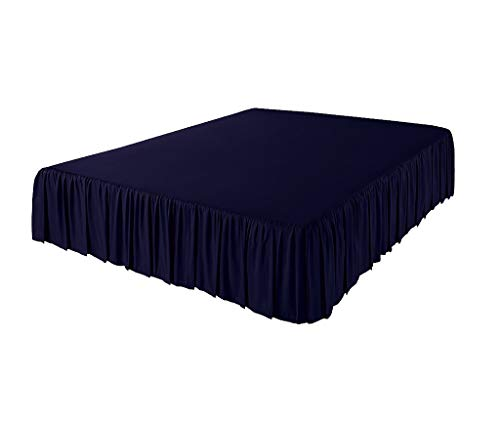 Bedding Experts 3 Side Coverage Ruffle/Gathered Bed Skirt with 12 Inch Drop Length (Queen, Solid Navy Blue) 1500 Series Brushed Microfiber - Covers Bed Legs and Frame