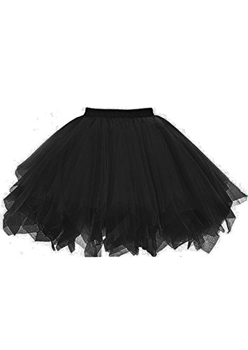 malishow Tutu Vintage Petticoat Crinoline Ballet Bubble Skirts Adult Tulle Skirt BlackM