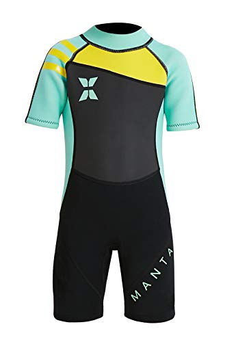 DIVE & SAIL Kids Swimwear Short Sleeve Wetsuit One Piece Full Suit Sun Protective Thermal Swimsuit Diving Swimming Suit Green L (Short Wetsuit Sleeve Kids)
