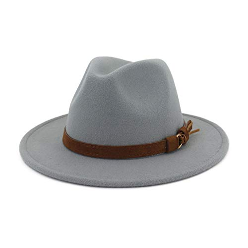 (Vim Tree Unisex Wide Brim Felt Fedora Hats Men Women Panama Trilby Hat with Band L-Grey M (Head Circumference 22
