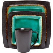 Gibson Hometrends Ocean Oasis Brown Blue Turquoise Stoneware