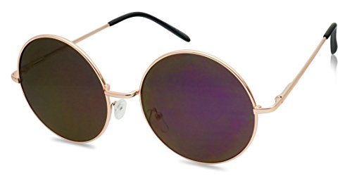 55mm Large Circular Retro Round Flat Mirrored Hippie Circle Sun Glasses (Rose Gold / Purple Lens, - Hippie Sunglasses Circle