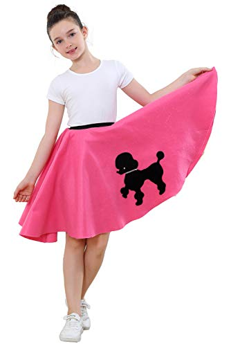 Paniclub Girls Cute Poodle Skirt with Musical Note Printed Scarf,Pink,10 ()