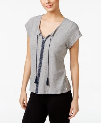 Lucky Brand Womens Embroidered Short Sleeve Pajama Top Gray M