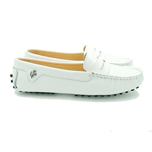 Minitoo - Mocasines de ante para mujer Leather-White