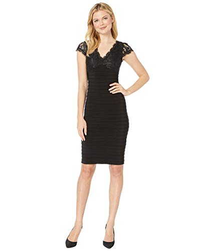 Adrianna Black Papell Dress (Adrianna Papell Women's LACE TOP Banded Sheath Dress, Black 12)
