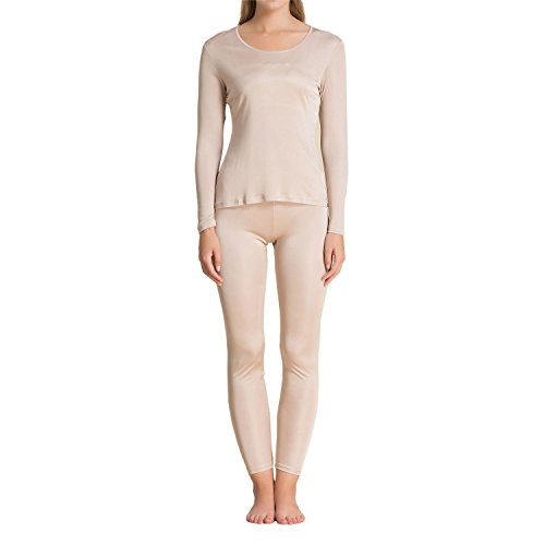 - Pure Silk Knit Women Underwear Long Johns Top and Bottom Set[US14,Beige]