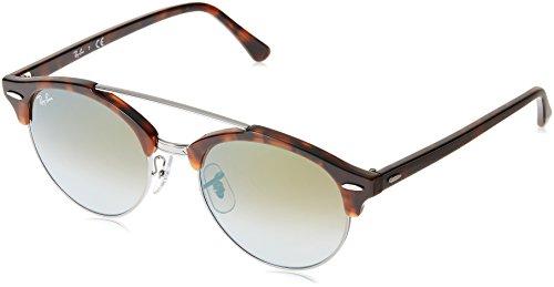 Ray-Ban Men's Clubround Double Bridge Round Sunglasses, Shiny Red Havana, 51 - Clubround Clubmaster