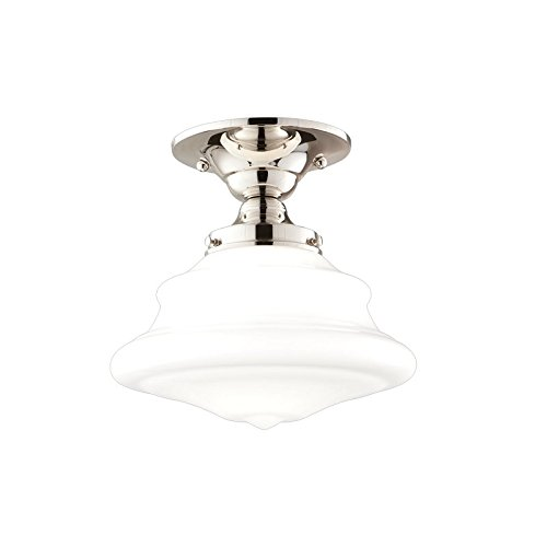 - Petersburg 1-Light Semi Flush - Polished Nickel Finish with Opal Glossy Glass Shade