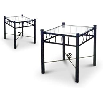 2 black metal nightstands glass end tables