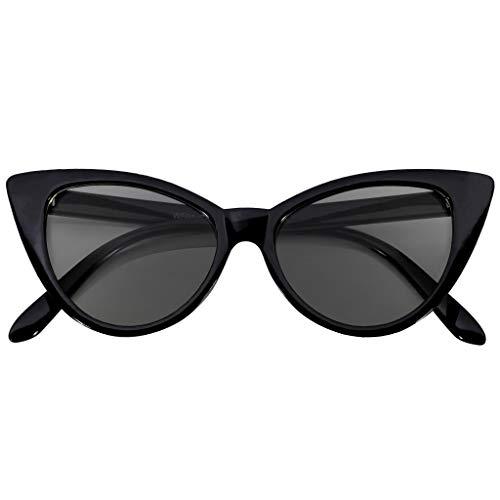 OWL Cateye Sunglasses for Women Vintage Trendy 1950's All Black Frame Smoke ()