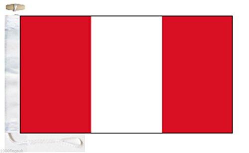 Peru Civil Ensign Courtesy Boat Flag - Roped & Toggle - 5'x3' - 150cm x 90cm