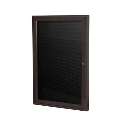 Ghent 36'' x 24'' 1 Door Outdoor  Enclosed Vinyl Letter Board, Black Letter Panel, Bronze Aluminum Frame (PB13624BX-BK) by Ghent