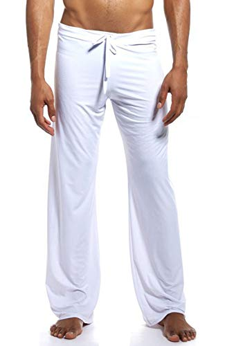 Mens Silk Lounge Pants - Mendove Men's Yoga Lounge Long Ice Silk Pants Size Large White