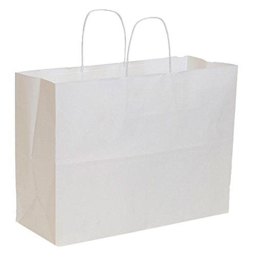 KC Store Fixtures 06208 Kraft Shopping Bag, 16'' x 6'' x 12'', White (Pack of 250)