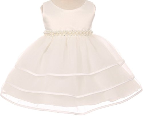 Little Baby Girls Sparkle Pearl Beading Waistline Flowers Girls Dresses Ivory M (C11B3)