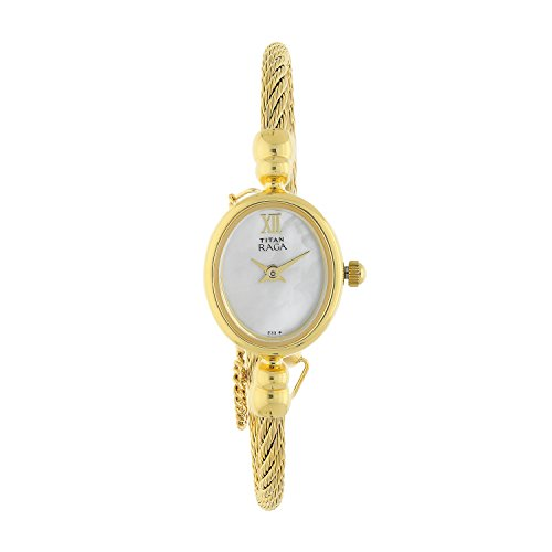 Titan Women's NJ197YM01 Raga Champagne Dial Watch with Metal Case Analog Japanese Quartz Mother of Pearl/Gold Watch