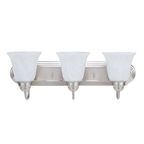 3 Light Bell (Britelight 3 Bulb E26 Vanity Light Fixture Bathroom Lighting, Brushed Nickel)