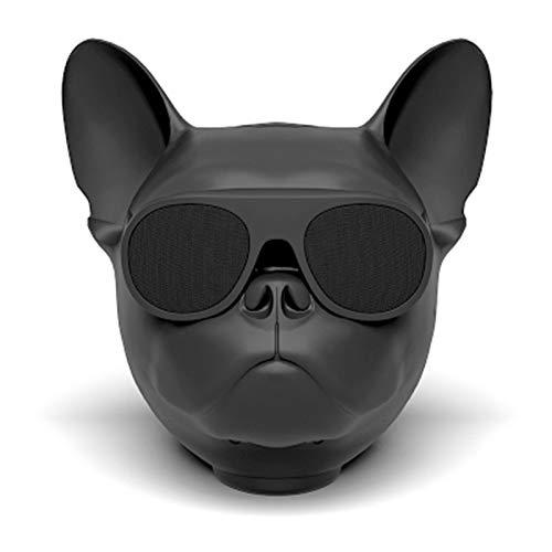- OUYAWEI Fashion Mini HiFi Bulldog Wirless Bluetooth Super Bass Speaker Stereo Sound Box Support FM Radion TF MP3 Player (Large Matte Black)