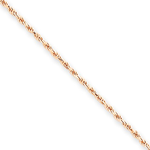 1.5mm, 14 Karat Rose Gold, Diamond-Cut Rope Chain Anklet – 10 inch