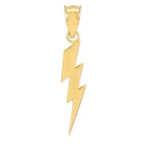 Polished 10k Yellow Gold Lightning Bolt Charm Pendant