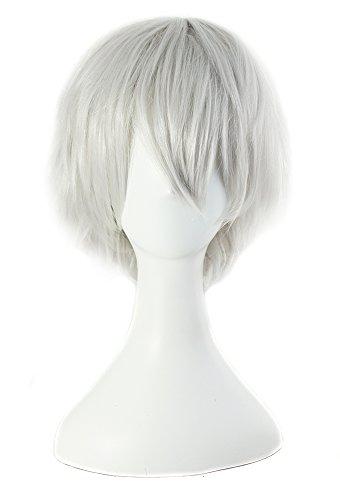 Taobaopit Gintama Sakata Gintoki Silver White short wig cosplay Wig + Cap