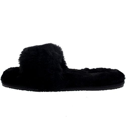 Womens Real Open Teen Sandals Luxe Slippers Zwart