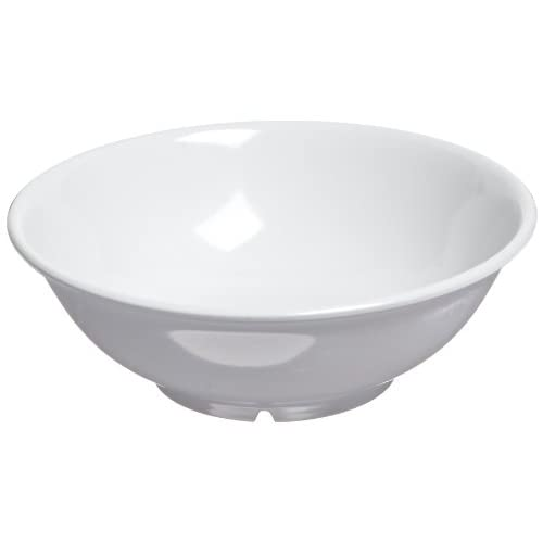 "Carlisle 4373802 Melamine Footed Serving Bowl, 1.1 qt. Capacity, 8.63"" Dia. x 2-7/8"" H, White (Case of 12)"