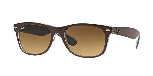 Ray Ban RB2132 NEW WAYFARER 618985 55M Mt Chocolate On Blue/Light Brown Gradient Dark Brown Sunglasses For Men For Women