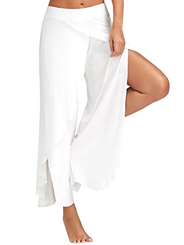 00c04119ae670f Ferbia Palazzo Pants Yoga Sweat Womens High Slit Solid Flowy Crooped  Trousers - Buy Online in Oman. | Apparel Products in Oman - See Prices, ...