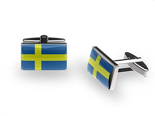 Boutons de manchette croix suédois (Boutons de manchette drapeau de la Suède avec Boîte Cadeau)