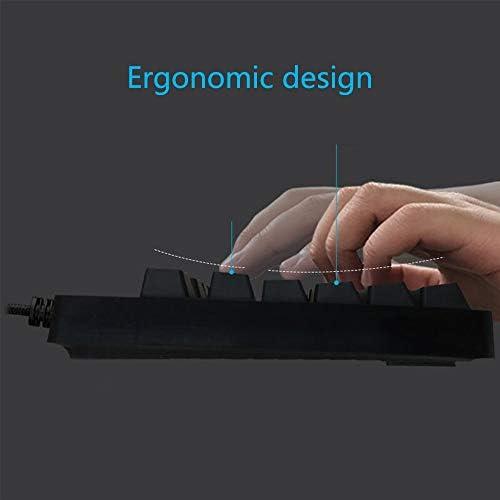 ゲーミング キーボード ゲーミングキーボードメカニカルゲーミングキーボードフルサイズ有線オフィスキーボード単一の光バックライト付きキーボード Windows/Mac OS対応 仕事PC用/自宅ゲーム用 (Color : Black, Size : One size)