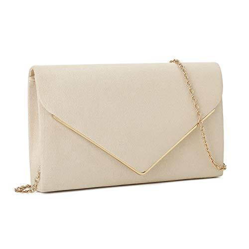 Charming Tailor Faux Suede Clutch Bag Elegant Metal Binding Evening Bag for Wedding/Prom/Black-tie Events (Beige)