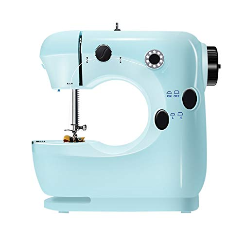 Mini Sewing Machine for Thick & Multiple Layers Fabrics, 2 Speed Embroidery Stitching Heavy Duty Quilting Machine Easy to Use with Extension Table, Foot Pedal Operation - Blue