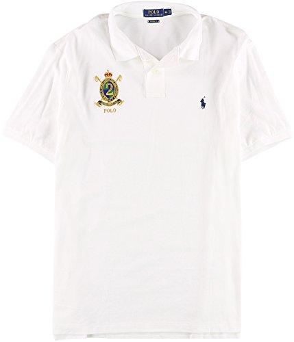 Polo Ralph Lauren Mens Classic Fit Mesh Crest Logo Polo Shirt - XL - White (Crest Polo Mens)